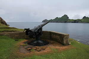 QF 4 inch naval gun Mk I – III - The 4-inch QF gun on Hirta looking towards Dùn