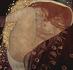 A Kiss in the Dreamhouse - Danaë (1907) by Gustav Klimt. The artwork was based on Klimt's work.