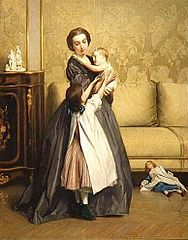 Jeune Mère et ses enfants dans un salon