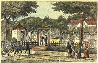 Lorry, Frederiksberg - Students arriving at the entertainment venue at Allégade 7 in 1874