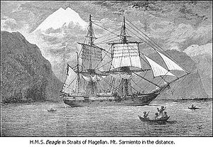 Pringle Stokes - HMS Beagle in the Strait of Magellan, with Monte Sarmiento in the background