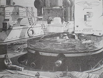 HMS Inflexible (1876) - Drawing depicting one of the gun turrets