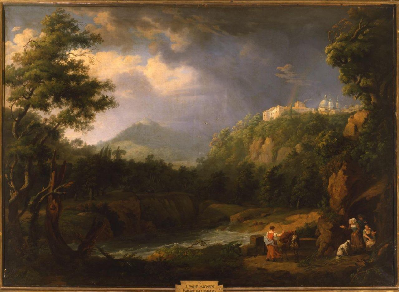 - Paisaje con mujeres y un borrico - Hackert, siglo XVIII