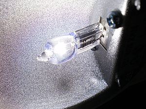 Halogen lamp - A halogen lamp operating in its fitting with the protecting glass removed