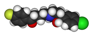 Space-filling representation of a haloperidol ...