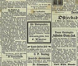Hannoverscher Kurier No. 03621, Seite 4 unten, 1866-07-03. Ausschnitt Friedrich Wunder.jpg