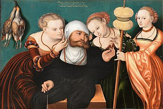 Hans Cranach - Hercules at the Court of Omphale, 1537, now at the Thyssen-Bornemisza Museum in Madrid