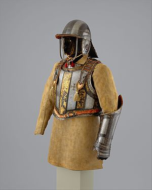 Harquebusier - English-made very high quality harquebusier armour of Pedro II of Portugal: an engraved cuirass, bridle-hand gauntlet, buff coat, and 3-barred lobster tailed pot helmet