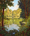 Henri Biva, A sun drenched river view, oil on canvas, 64.8 x 54 cm.jpg