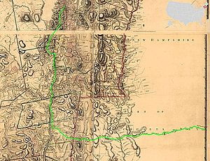 Noble train of artillery - The apparent route of the expedition, overlaid on a 1779 map
