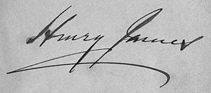 English: Signature of writer Henry James