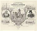 Herinnering aan de onthulling van de gedenknaald te Scheveningen op de plaats waar Willem V in 1795 naar Engeland is vertrokken, 1865 Herinnering aan de onthulling van den Gedenknaald te Scheveningen (titel op object), RP-P-OB-86.395.jpg