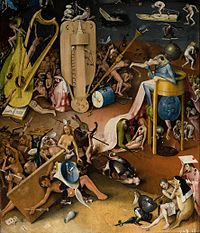 Detail of The Garden of Earthly Delights by Hieronymus Bosch, showing the first known depiction of a buzzing bridge on a hurdy gurdy