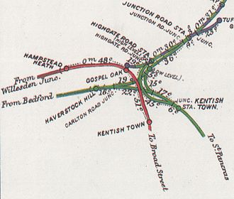 Gospel Oak railway station - Local railway lines, 1914