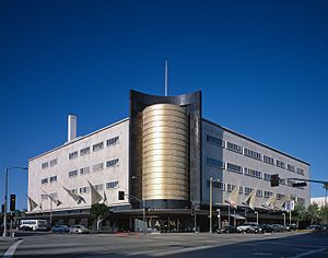 "Miracle Mile, Los Angeles - The 1939 Streamline Moderne May Company Building marks the western border of the Miracle Mile and ""Museum Row""."