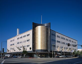 The May Department Stores Company - The 1939 Streamline Moderne style May Company Wilshire building in Los Angeles. It was later adapted for use as The Academy Museum of Motion Pictures