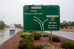 Stuart Highway - Sign near the southern end of the Highway at Port Augusta West