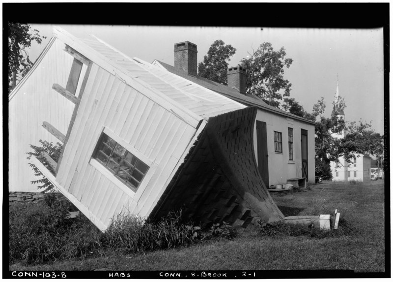 File:Historic American Buildings Survey (Fed.) Stanley P. Mixon, Photographer May 16, 1940 (B) EXTERIOR, VIEW FROM NORTH EAST, SHOWING ROOF, AS LEFT BY 1938 HURRICANE. (UNITARIAN HABS CONN,8-BROOK,2-1.tif