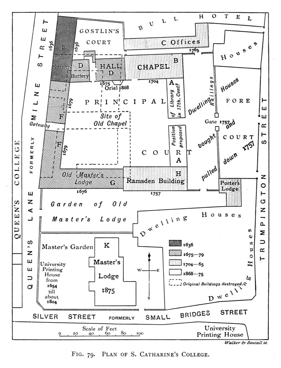 Historical plan of St Catharine's College, Cambridge (1897) - cambridgedescri00atkiuoft 0498