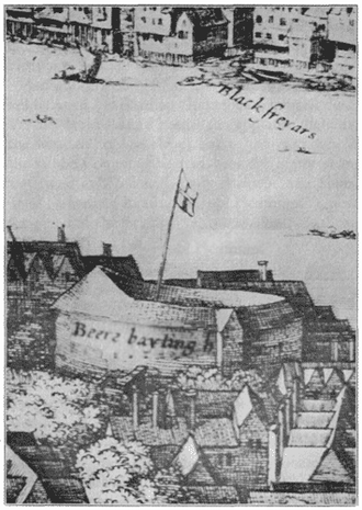 Hope Theatre - The Hope playhouse, or second Bear Garden, from Hollar's View of London (1647) — the engraver's misnaming corrected.