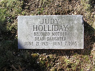 Judy Holliday - The footstone at Judy Holliday's grave