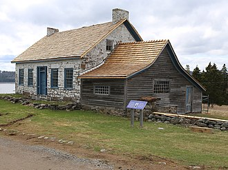 Ministers Island - Home of Rev. Samuel Andrews. Built c. 1788 - 1791 showing Edward Marxwell addition of 1904 with newly replaced roofs