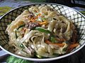Homemade Japchae with mixed capsicum, mushroom, meat, carrot with rice noodles 04.jpg