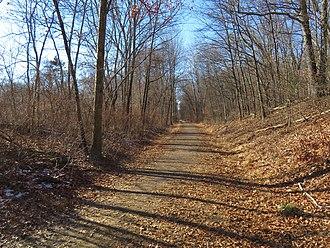 Hop River State Park Trail - Image: Hop River Trail west of Kings Road, December 2018