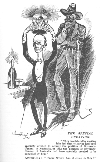 John Hope, 7th Earl of Hopetoun - A cartoon from The Bulletin parodying Hopetoun's regal pretensions in office in 1901