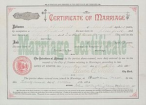 Alice Hathaway Lee Roosevelt - Marriage certificate of the Roosevelts, 1880