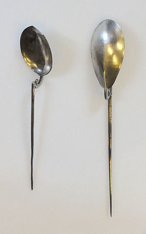 Cochlearium - Two silver cochlearia from the Hoxne Hoard