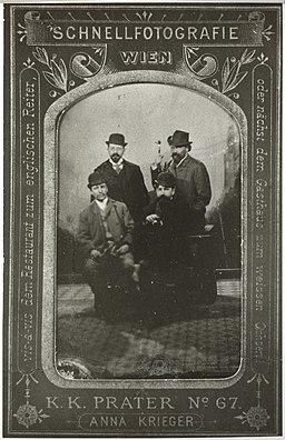 Hugo von Hofmannsthal, Richard Beer-Hofmann, Arthur Schnitzler und Hermann Bahr (1895) OeNB 3778967