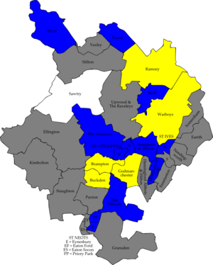 Huntingdonshire District Council elections - Image: Huntingdonshire UK local election 2002 map