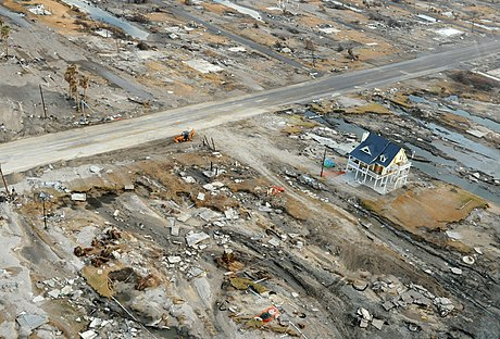 Hurricane Ike storm surge damage in Gilchrist, Texas in 2008. Hurricane Ike Gilchrist damage.jpg