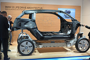 Body-on-frame - The BMW i3 electric car is one of the rare modern cars with a separate body and frame design (2013).