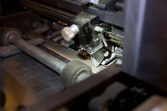 IBM card sorter - Reader brush on an IBM 83 card sorter