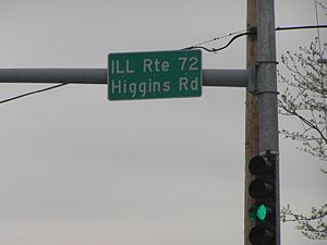 Illinois State Highway System - Illinois Route 72 cross-sign mounted on a stoplight in Hoffman Estates