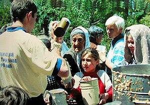 Hinduism in Russia - Hare Krishna devotees distributing free vegetarian meals.