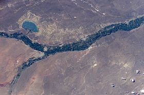 Le lac pellegrini vu par satellite