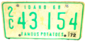 Idaho 1972 license plate.png