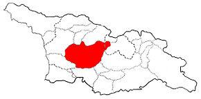 Mappa della regione storica dell'Imereti, più ampia rispetto a quella attuale