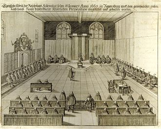 Imperial Estate - Seating order of the Perpetual Diet of Regensburg (1663  engraving)
