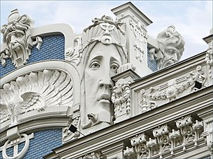 Mikhail Eisenstein - The facades of Eisenstein's buildings are often profusely decorated, such as the building on Elizabetes iela 10b