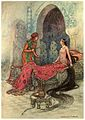 In a trice she woke up, sat up in her bed, and eyeing the stranger, inquired who he was.jpg