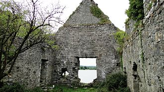 Corofin, County Clare - Inchiquin Castle. View from the inside towards the lake.
