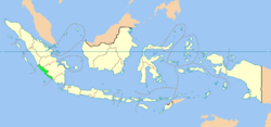 Location of Bengkulu in Indonesia