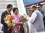 Indonesia President Joko Widodo and First Lady Iriana Joko Widodo are welcomed by Indian Head of State Protocol Sanjay Verma at Palam Air Base, New Delhi.jpg