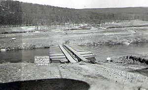 289th Engineer Combat Battalion (United States) - Infantry support bridge over Saar River erected by 289th Engineers at Volklingen