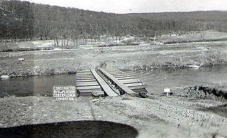 Engineer Combat Battalion - Infantry support bridge over the Saar River erected by 289th Combat Engineers at Volklingen, Germany