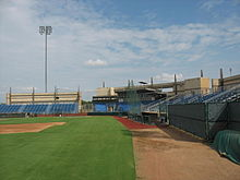 A The seats, press box and third base line of Clay Gould Ballpark